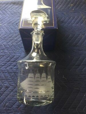 Hand Blown  Glass Liquor Decanter With Etched clipper ship Toscany