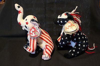 Lefty & Righty Political Beanie Babies by TY 2000 with all original tags