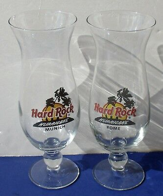 Hard Rock Cafe Hurricane Glass Lot of 2 - Rome and Munich