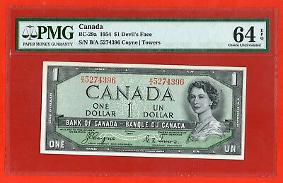 ✪ 1954 $1 Bank of Canada BC-29a Devil Face B/A 5274396  - PMG Ch UNC 64 EPQ