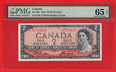 ✪ 1954 $2 Bank of Canada Devil Face BC-30b D/B Prefix - PMG Gem UNC 65 EPQ