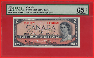 ✪ 1954 $2 Bank of Canada Devil Face BC-30b F/B Prefix - PMG Gem UNC 65 EPQ