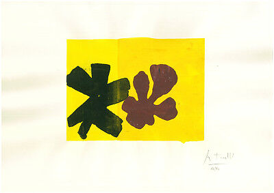 Old etching signed ROBERT MOTHERWELL in pencil - sunflowers