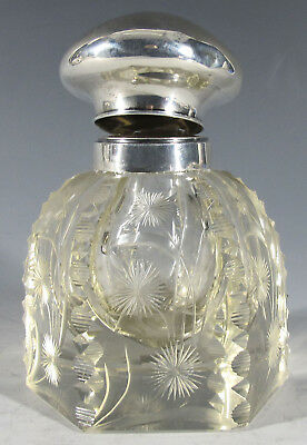 Antique Edwardian Cut Glass Crystal Scent Perfume Bottle Sterling Silver Cap yqz