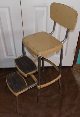 Vintage Cosco 2 Step Kitchen Stool Tan Red Vtg Chair Mid Century Metal