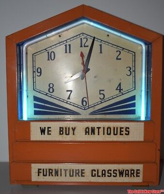 Vintage Blue Neon Art Deco Slide In Advertising Lighted Wall Counter Clock