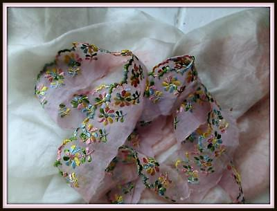 Antique Ultra Sheer Crisp Pink Cotton Organdy Embroidery Flower Trim Lace