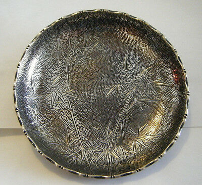 "VTG ENGRAVED WAI KEE FINE CHINESE / H.K.STERLING 5"" DISH WITH BAMBOO DESIGN 126g"