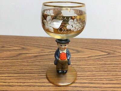 German GOEBEL Crystal Wine Glasses w/GOLD accents - Man in Suit