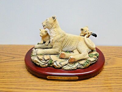 Amy and Addy The Gray Rock Collection. Lion and 2 Cubs Playing Statue Figurine