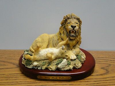 Amy and Addy The Gray Rock Collection. Lion and Cub Playing Statue Figurine