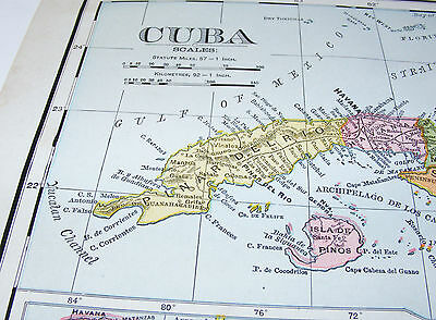 antique map CUBA 1899 Rand McNally & Co WEST INDIES and WINTER IN CUBA picture