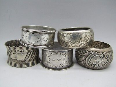antique vintage SILVER NAPKIN RINGS VICTORIAN & OTHERS STERLING 88g SCRAP X5