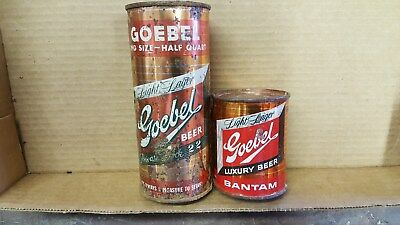 2 Goebel Rooster flat top beer cans 16 ounce & 8 ounce Detroit Michigan display