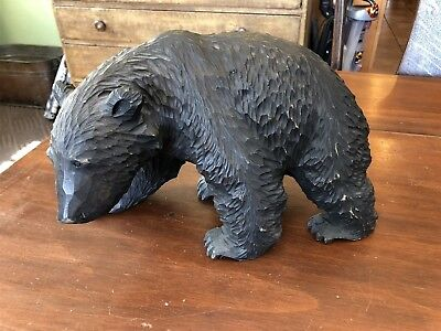 """Large 12"""" Black Forest Bear Carved Figure Carving, nicely done!"""
