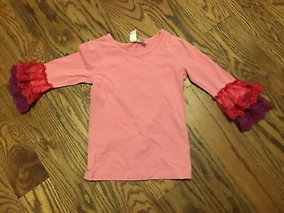 Matilda Jane Paint By Number Radiant Lace Pink Layering Lace Ruffle Tee Top Sz 6
