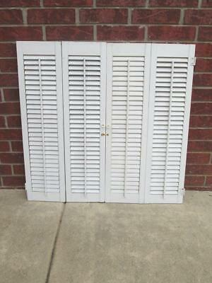 VINTAGE INTERIOR White Wood Shutters 36 Wide Total x 3475 Tall