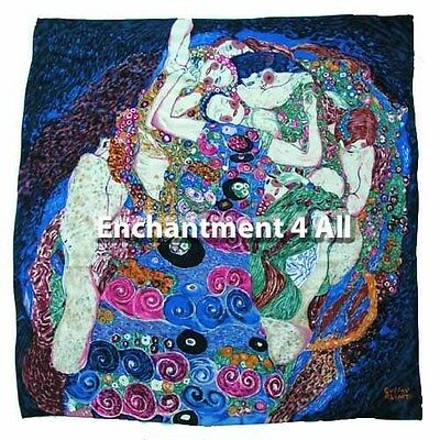 "Handmade 100% Silk Art Scarf Wrap 35""X35"" Handrolled Hems w/ Klimt ""The Virgin"""