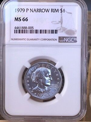 1979-P Susan B. Anthony Dollar Narrow Rim MS 66 * Price Guide $30 *