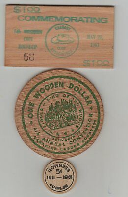 3 Wooden tokens/ coins
