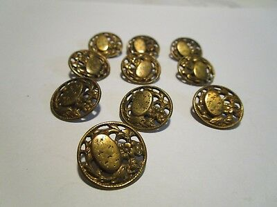 """Antique / Victorian  (10)  3/4"""" Floral - Oval Part W/designs Ornate Buttons  #32"""