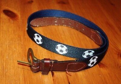 "Boys' Belt w/ Soccer Ball Sports pattern and brown leather trim (size ~31"") EUC"