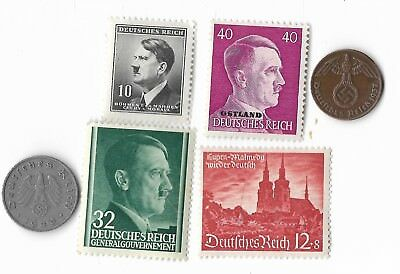 Rare Very Old WWII WW2 Nazi Germany SS Coin Stamp War German Big Collection Lot