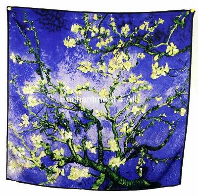 "Handmade 100% Silk Twill Scarf w/ Van Gogh ""Almond Branches in Bloom, San Remy"""