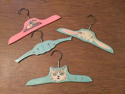 """4 Vintage Antique Child's Wooden Wood Hangers Baby 10"""" Pink and Blue (1930s-40s)"""
