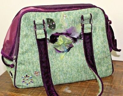 Companion Road Dog Cat Pet Tote Carrier Green Tweed Purple Velvet XS Embellished