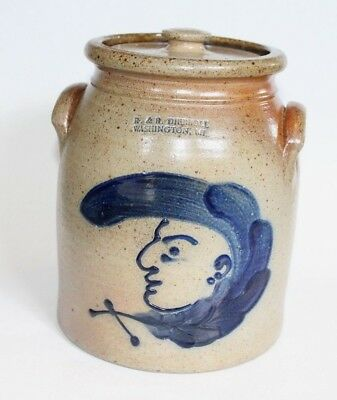 R & B DIEBBOLL Stoneware Jar Painted Face / Man Pottery w/ Lid Washington MI