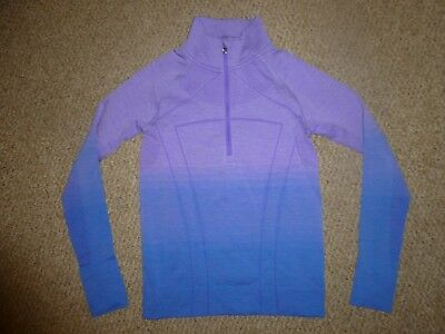 GC Ivivva (Girls' Lululemon) Ombre Lilac-to-Blue Long Sleeve 1/3 Zip Top-Size 10