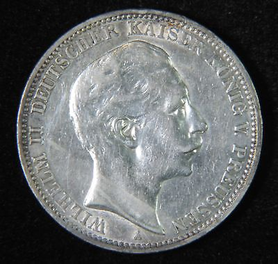 1909 A Germany German Empire Prussia Wilhelm II Silver Drei 3 Mark Coin