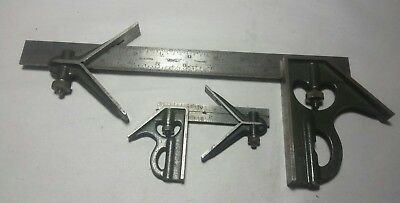 Vintage Combination Square Lufkin Rule Lot Of 2, 4In And 12In Machinist Tool