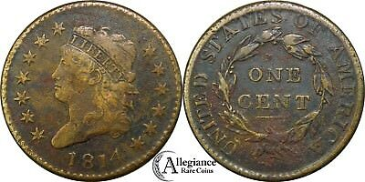 """1814 1c Classic Head Large Cent """"PLAIN 4"""" from an old estate lot/collection"""