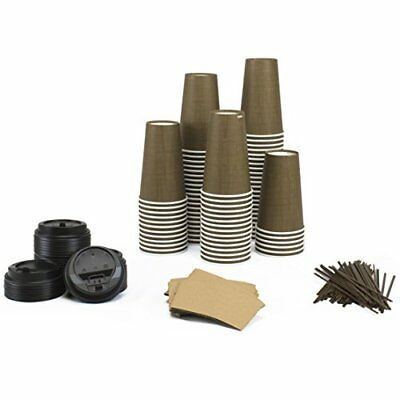 Paper Coffee Hot Cups Lids Sleeves Straws 16oz Pack of 100 Insulated Coffee Cup