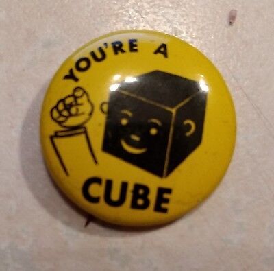 1950's 1 x 1 yellow pin YOU'RE A CUBE on front ARMOUR FRANKS on back