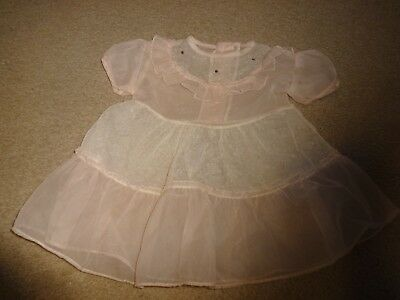 Vintage Pink & White Sheer Baby Dress ~ size 9 - 12 months As is