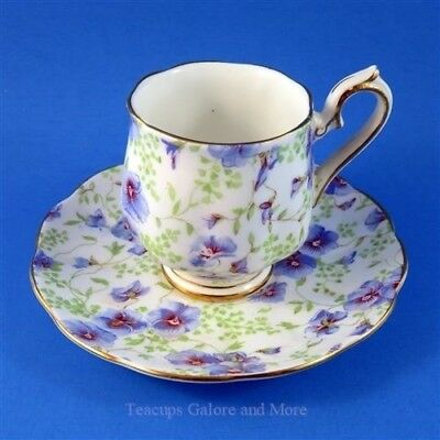 Royal Albert Blue Pansy Chintz Small Demitasse Tea Cup and Saucer Set