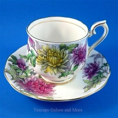 Royal Albert Painted Flower of The Month Chrysanthemum #11 Tea Cup and Saucer