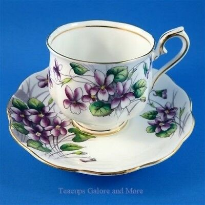 Royal Albert Painted Flower of The Month Series Violets #2 Tea Cup and Saucer