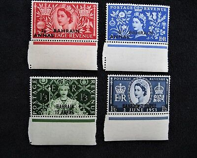Bahrain Scott #85, 87, 89 & 90 - Surcharged Stamps of Gr Britain - MNH,  #B843