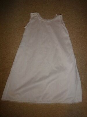 Vintage White Cotton Blend long Baby Slip for Christening Gown sz 6 mos