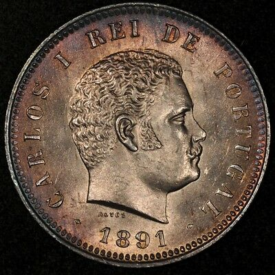 1891 Portugal 200 Reis Lustrous Uncirculated Toned