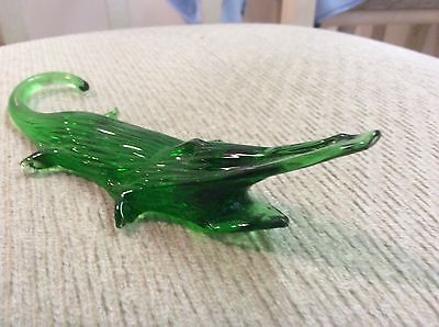 "Green Glass Alligator with Mouth Open  6"" Long   Go Gators!"