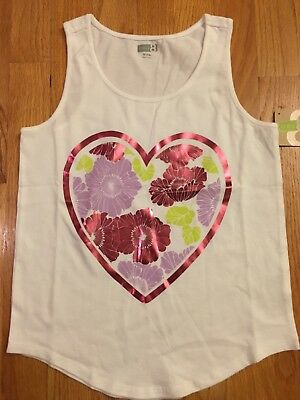 Crazy 8 Shiny Pink Flower Heart Tank Top Kids Girls Size M(7-8) NEW WITH TAGS