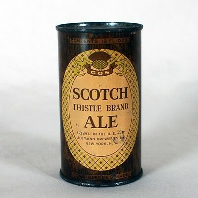 Scotch Thistle Brand Ale Instructional 748 Flat Top Can Liebmann Breweries NY