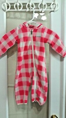 COLUMBIA Boy Girl Toddler Red Check Fleece Flannel Plaid Jumper Bunting 2T
