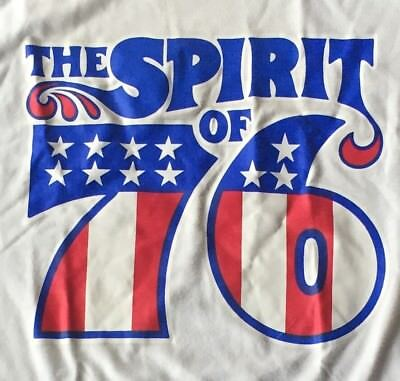 Vintage The Spirit of 76 T-Shirt Red White Blue Ringer Adult Small Nice!