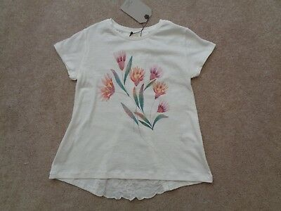 New wTags ZARA GIRLS Ivory Sparkly Flower and Lace T-Shirt Size 7